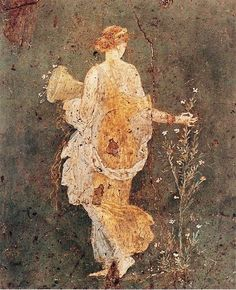 Spring, maiden gathering flowers. Fresco from the Villa of Varano in Stabiae, c. 15 BC-60 AD,  Museo Archeologico Nazionale, Naples, Italy (arquilatria)