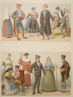 Racinet Catalans ET Aragonais Espagne 1888 Costumes Catalogne Aragon | eBay