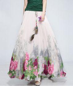 Drawstring Wide Hem Floral Print Women's Skirt Vintage Skirts | RoseGal.com