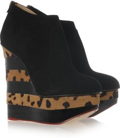 Charlotte Olympia Martha in Stripes Suede Wedge Ankle Boots in Black