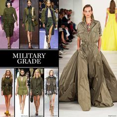 Military Grade A counterpart to the season's interest in free-loving bohemia, utilitarian, surplus styles in army green marched on the runways at Sacai, Marc Jacobs, and No. 21, among others. Look for a uniform of drab colors and exposed pockets next season.