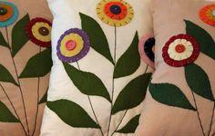 Spring flower felt cushions @Jill Noble
