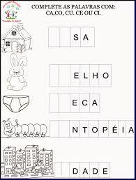 Resultado de imagem para atividades sobre a familia silabica do c