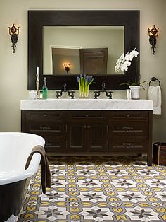 Don't know if I'll ever be bold enough to have a patterned floor tile in the bathroom