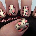 My party cheetah print nails!    Watch The Video Tutorial @ http://polishpedia.com/gold-and-pink-cheetah-print-nail-art.html