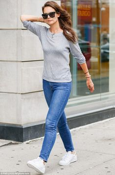 Out and about: Katie Holmes was spotted enjoying a stroll in New York City on Tuesday...