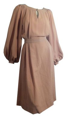 Shell Pink 1930s Style Crepe Rayon Dress w/ Billowing Sleeves circa 19 - Dorothea's Closet Vintage