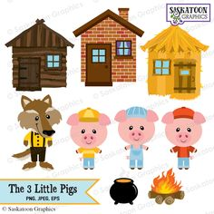 The Three Little Pigs Clipart Instant por SaskatoonGraphics Cute Crafts, Diy And Crafts, Crafts For Kids, Paper Crafts, Clipart, Three Little Pigs Houses, Pig Birthday, Pig Party, Scrapbook Kit