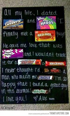 DIY Candy Letter - 20 Best DIY Valentine's Day Gifts for Your Man | GleamItUp