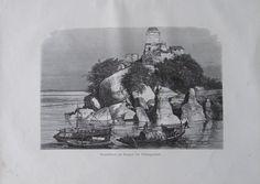 aus 1880 - Granitfelsen am Ganges bei Sultangandsch, Indien - alter Druck print