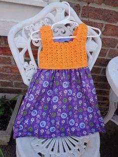 Crochet top dress girl's summer dress corset tie by SimplySpindle, $24.00