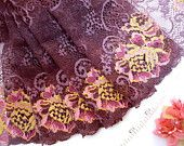 Elastic lace, stretch fabric, embroidered lace, floral lace,  multi color lace, lingerie fabric, lycra fabric,  2 yards VT126
