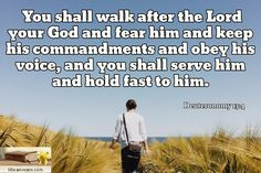 Deuteronomy 13:4 / You shall walk after the Lord your God and fear him and keep his commandments and...