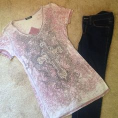 """SALE Awesome Embellished T-shirt Burnout style in pink with gray and black design and silver and crystal embellishment. I don't see any stones missing so if there are any it's hard to tell. Back has """"sewn on"""" cross appliqué. V-neck. Shirt is slightly see thru as most in this style are. Tops"""