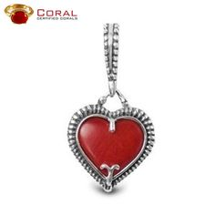 Gift this #heart shaped #coral studded #sterling #silver #pendant to your loved ones.