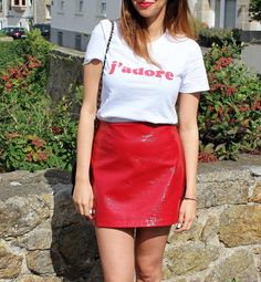 red vinyl skirt outfit, fashion trends