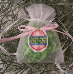 Organza Cross Stitched Easter Egg Gift Bag by SnowBerryNeedleArts