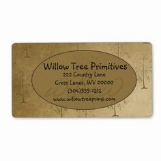 Willow Tree Primitive Business Label. Fully customizable with your info.