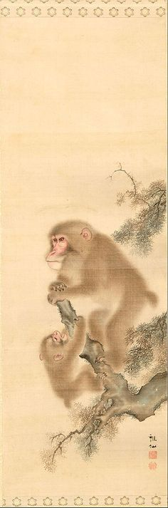 art-and-things-of-beauty: Monkeys by Mori Sosen Aluminum Foil Art, Japan Painting, Year Of The Monkey, Art Japonais, Classic Paintings, T Art, Korean Art, Japanese Prints, Japan Art