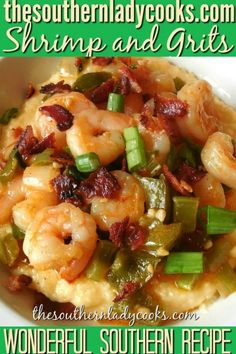 Shrimp and Grits. Make changes as noted. Make grits with half water, half milk, and decrease amount of cheese. Use all of cajun spice called for. Southern Grits, Southern Dishes, Southern Recipes, Southern Food, Louisiana Recipes, Southern Style, Cajun Recipes, Fish Recipes, Seafood Recipes