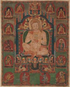 Portrait of Jnanatapa Attended by Lamas and Mahasiddhas, ca. 1350. Eastern Tibet, Kham, Riwoche monastery. The Metropolitan Museum of Art, New York. Purchase, Friends of Asian Art Gifts, 1987 (1987.144)