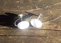 Vintage Milk Glass Button Screw On Earring From Japan 1950s on Etsy, $8.00