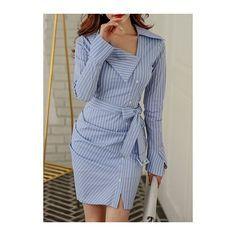 Rotita Flare Sleeve Front Slit Stripe Print Mini Dress ($44) ❤ liked on Polyvore featuring dresses, blue, blue striped dress, short sleeve dress, flared sleeve dress, blue long sleeve dress and bell sleeve dress
