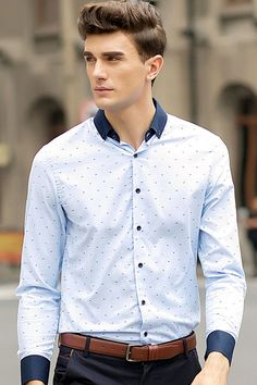 Distinguish yourself as the most dapper guy at the party. Pair this sporty little fishbone print shirt with a super skinny jeans, then show your sunny masculine naturally. Cut slimmer through the shou