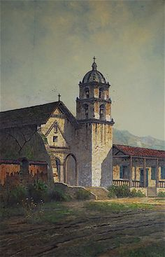 """""""Mission San Buenaventura"""" by Edwin Deakin. On Display at the Santa Barbara Mission Archive Library. www.fineartconservationlab.com"""