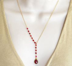 BOXING DAY SALE Ruby necklace, red ruby rosary chain necklace, bohemian necklace, long necklace, boho jewelry, gift for her, lariat necklace