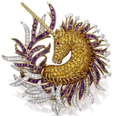 A Retro Multigem and Gold Unicorn Brooch Van Cleef Arpels