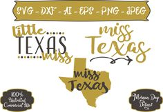 Little Miss Texas SVG - Miss Texas SVG - Texas SVG - Texas Clipart - State svg - Files for Silhouette Studio/Cricut Design Space by MorganDayDesigns on Etsy