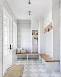 "2,151 Likes, 55 Comments - Bria Hammel Interiors (@briahammelinteriors) on Instagram: ""The mudroom in our Orono House has to be one of my favorites! The gray and white checkerboard floor…"""