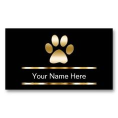 PET CARE - Business Cards. Upscale pet care business cards you can customize with simple but effective design that includes a gold printed dog paw print, gold printed line accents, and great text layout. Best business cards for themes related to dog grooming, pet grooming, pet salon or kennel, day care or pet sitter.