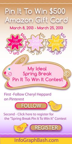 """My Ideal Spring Break"" Pin It To Win It Contest  $500 Amazon Gift Card - Grand Prize $100 Amazon Gift Card - 2nd prize $50 Amazon Gift Card - 3rd prize Everyone wins Success Infographs!"