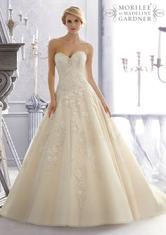 bridal gown from Mori Lee by Madeline Gardner Dress Style 2671 Crystal Beaded Embroidery Combined with Lenice Lace Appliques on a Tulle Wedding Gown
