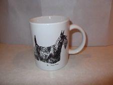 """Dog Breed Coffee Cup / Mug """"Sottish Terrier"""" 1985 Cindy Farmer scotty dog"""
