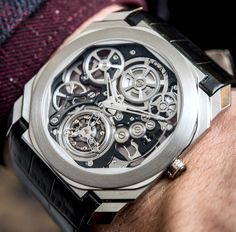 Our David Bredan goes Hands-On with the new Bulgari Octo Finissimo Flying Tourbillon Skeleton. The latest and still thinnest tourbillon in the world all thanks to the Bulgari Finissimo caliber packing 253 parts into a construction. Bvlgari Watches, Skeleton Watches, Thing 1, Luxury Watches For Men, Mechanical Watch, Cool Watches, Stylish Watches, Casual Watches, Men's Watches