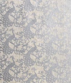 Trocadero Silver on Oatmeal Fabric
