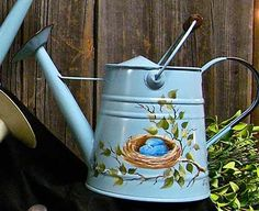 painted watering can - Birds Nest & Leaves