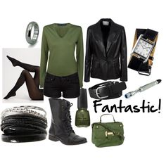 """Ninth Doctor"" by favourite-fictional-fashions on Polyvore w/longer pants would be perfect"