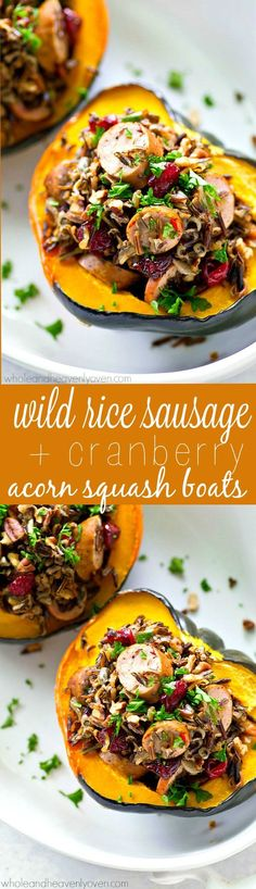 Tender roasted acorn squash boats are stuffed with a flavorful wild rice and sausage filling for a stunner fall side dish that goes great with roast chicken or turkey.