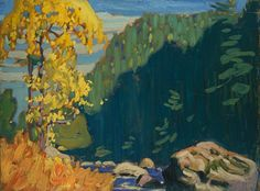 """""""On the Agawa River, Algoma,"""" Lawren S. Harris, ca. oil on wood, x National Gallery of Canada. Tom Thomson, Group Of Seven Artists, Group Of Seven Paintings, Canadian Painters, Canadian Artists, Emily Carr Paintings, Art Inuit, Landscape Artwork, Tree Art"""