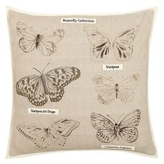 Buy John Lewis Butterfly Collection Cushion, Natural Online at johnlewis.com