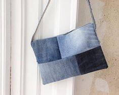 Denim purse, denim bag, patchwork bag, embroidered denim crosbody bag, simple upcycled handbag, cluch, shoulder bag, hand embroidered fish