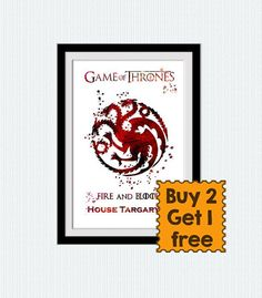House Targaryen watercolor poster Game of Thrones by ColorfulPrint