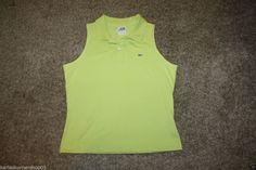 Izod Lacoste Sleeveless Womens Green Polo Size 42 Large #Lacoste #PoloShirt #Casual