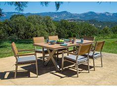 Corvus Jasmine 7-piece Champagne Designer Finished Outdoor Dining Set