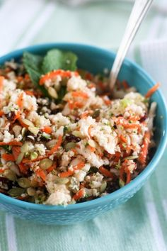 Cauliflower 'Detox' Salad. Soooooo gotta make this to pack for on-the-go lunches and snacks. Mmm!