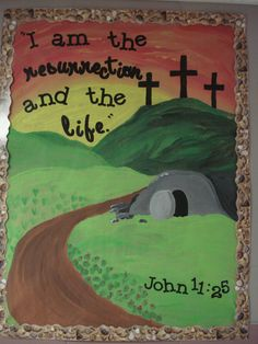 Wall bulletin board with school year theme Bible verse. I posted it in the hallway outside my door so it is the first thing kids spot as they come inside. I simply painted the scene I wanted and then used cricut letters to add the verse.